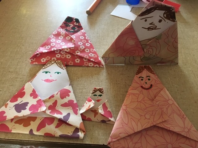 Japanese origami dolls created by students in Japanese lessons